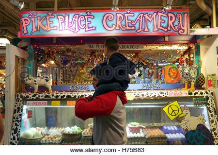 Pike Place Creamery - market stall at Pike Place Market, Seattle, Washington State, north west USA. - Stock Image