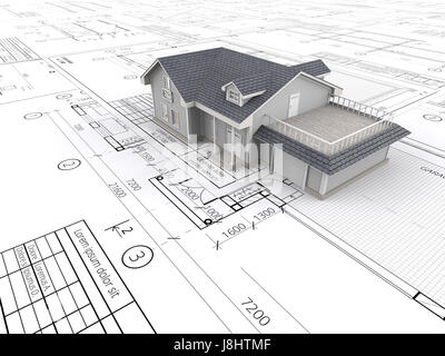 Top perspective View of a House ontop of large set of Blueprints. 3D render. - Stock Image