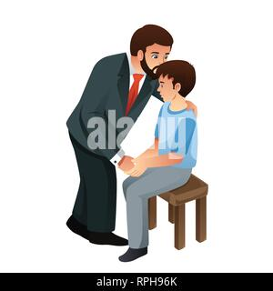 A vector illustration of Muslim Father Kissing His Son - Stock Image