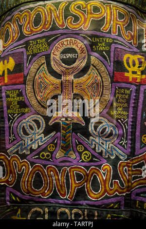 Artwork about gay rights painted on the back of a jacket on display at the Stonewall 50 exhibit at the New-York Historical Society, New York, NY, USA - Stock Image