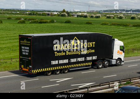 B&Q Tradepoint HGV travelling on the M56 motorway in Cheshire UK - Stock Image
