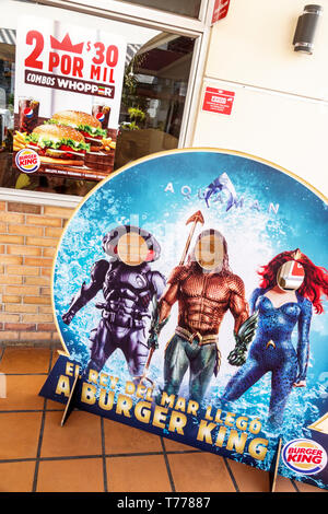 Cartagena Colombia Bocagrande Burger King fast food hamburgers restaurant poster cut out media tie-in promotional promotion products Aquaman Spanish l - Stock Image