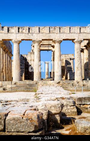 Aphaia temple on Aegina Island in Greece - Stock Image