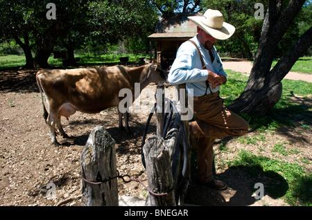 Farmer at ranch in Sauer Becker Farm of the LBJ historic park in Texas, USA - Stock Image