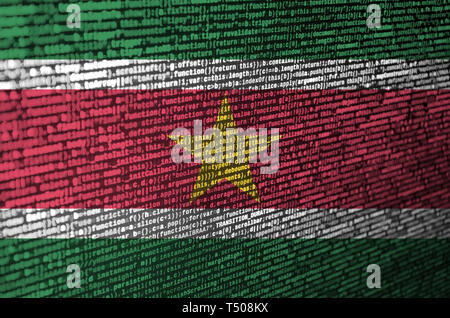 Suriname flag  is depicted on the screen with the program code. The concept of modern technology and site development. - Stock Image