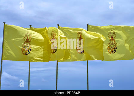 Thailand flag. Yellow flags used to commemorate the Kings birthday - Stock Image