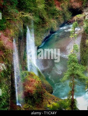 Seasonal waterfalls (unnamed) into Eagle Creek. Columbia River Gorge National Scenic Area, Oregon - Stock Image