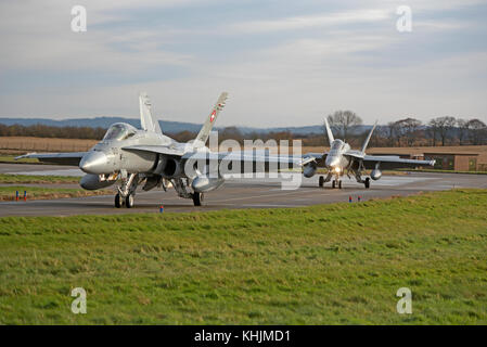 Swiss Air Force McDonnell Douglas F/A18C aircraft on 4 week exercise at RAF Lossiemouth Scotland. - Stock Image