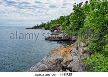 The rugged and rocky north shore of Lake Superior, near Tofte, Minnesota, USA - Stock Image