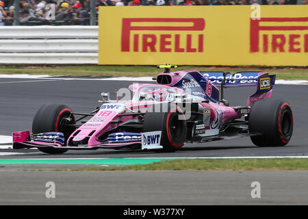 Silverstone Circuit. Northampton, UK. 13th July, 2019. FIA Formula 1 Grand Prix of Britain, Qualification Day; Lance Stroll driving his SportPesa Racing Point F1 Team RP19 Credit: Action Plus Sports/Alamy Live News - Stock Image