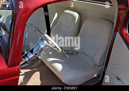 Custom white leather interior for custom car. - Stock Image