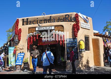 Restaurants and shops in historic downtown Albuquerque, New Mexico, USA - Hacienda del Rio restaurant - Stock Image