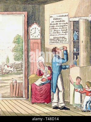 THE MORNING DRAM An 1826 American cartoon warning of the perils of alcohol - Stock Image