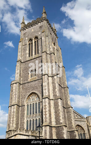 Sunshine over Cromer Parish Church, St Peter & St Paul in Cromer, Norfolk in June - Stock Image