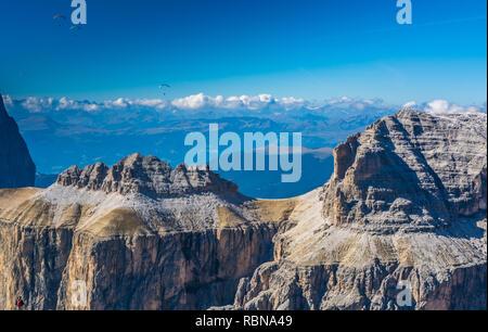 Sella Group from Pordoi Sass ( 2950 m) , Dolomites, Trentino Alto Adige, northern Italy, Europe - Stock Image
