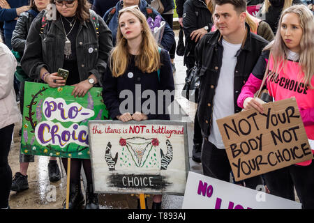 London, UK. May 11th 2019. Feminists held a rally in Parliament square for reproductive rights and the decriminalisation of abortion and to oppose an anti-choice, US-inspired 'March for Life' taking place today. They say this is made up of extreme anti-women, anti-choice, evangelical groups which regularly harass women outside abortion clinics, with links to homophobic, fascist and far-right organisations and opposes contraception, sex education and IVF treatment. They then stood beside the march route to make their objections clear to the marchers. Peter Marshall/Alamy Live News - Stock Image