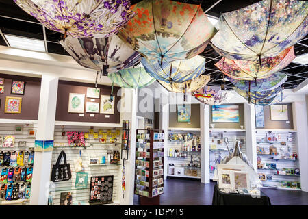 Orlando Florida Museum of Art store gift shop shopping sale display umbrellas - Stock Image