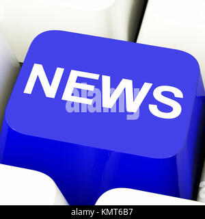 News Computer Key In Blue Showing Media And Info - Stock Image