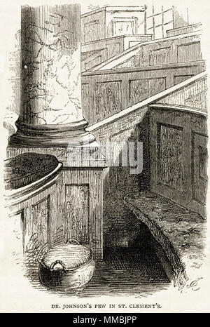 Dr Samuel Johnson's pew in St Clement Danes Church, Westminster, London, England, UK. 19th century Victorian engraving circa 1878 - Stock Image