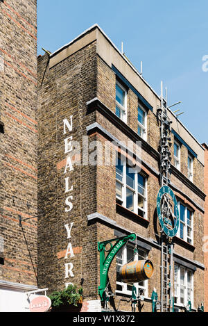 London, UK - May 15, 2019: Neals Yards in Seven Dials, it s a small alley in Covent Garden area between Shorts Gardens and Monmouth Street which opens - Stock Image