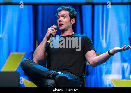 Bonn, Germany - June 8 2019: Ethan Peck (*1986, American actor -  Star Trek: Discovery) talks about his experiences in Star Trek Discovery at FedCon 28 - Stock Image