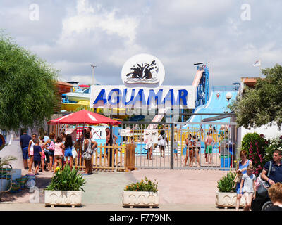 Entrance to Aguamar Water Park, Platja d'en Bossa, Ibiza Spain - Stock Image