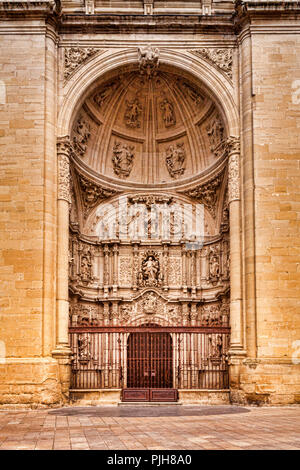 The west door of the Concatedral de Santa María de la Redonda, Logrono, La Rioja, Spain. There is a fine mesh netting above the gate which is visible  - Stock Image