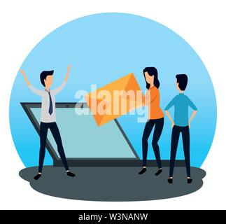 businessmen and businesswoman teamwork with laptop and letter - Stock Image