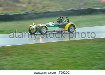 Dunfermline, UK. 7th April, 2019. 70 Keiron BaillieÕs Lotus Seven S3 during qualifying for a Scottish Classic Sports and Saloons Championship race at Knockhill Circuit. During a wet and misty start to the Scottish Championship Car Racing season organised by the SMRC (Scottish Motor Racing Club) at Knockhill. Credit: Roger Gaisford/Alamy Live News - Stock Image