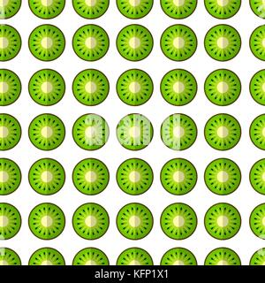 Vector seamless pattern with fresh green kiwi fruit. Great for design of healthy lifestyle or diet. For wrapping - Stock Image