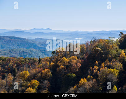 Scenic view overlook on Blue Ridge Parkway road, Asheville, NC, USA - Stock Image