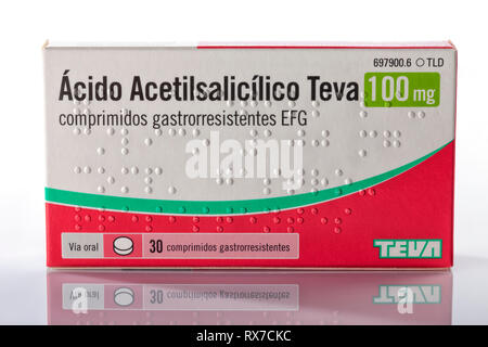 A box of tablets of acetylsalicylic acid of the brand Teva isolated on white. Photo taken in Madrid, Spain, on March 8, 2019. - Stock Image