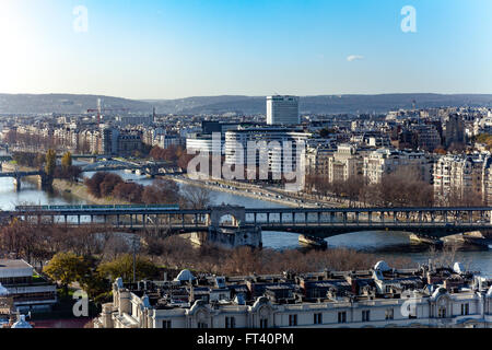 Parisian subway bridge over Seine river - Stock Image
