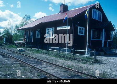 Apokatno station near Jokkmokk in Sweden - Stock Image