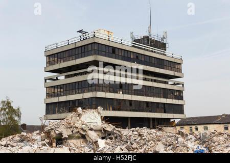 Former police Headquaters building on Irwell Street,  Bury, Lancashire, undergoing demolition. - Stock Image