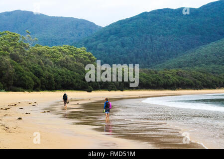 Two hikers walking along the deserted beach at Sealers Cove, Wilson's Prom, Australia. - Stock Image