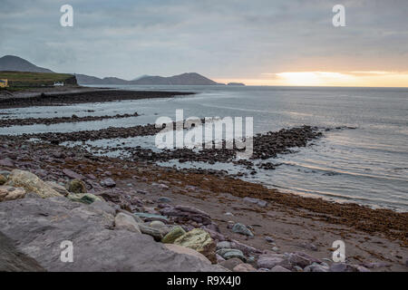 Waterville beach, county Kerry Ireland, winter with evening light - Stock Image