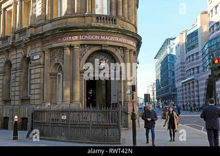 City of London Magistrates Court building exterior on Queen Victoria Street in London EC4  England UK  KATHY DEWITT - Stock Image