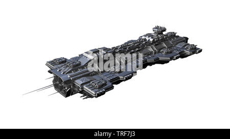 Spaceship flying, alien UFO spacecraft in flight isolated on white background, 3D rendering - Stock Image