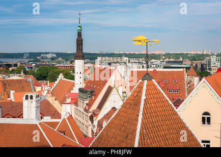 Tallinn roof, view across the orange tiled roofs of the medieval Old Town quarter in the centre of Tallinn, Estonia. - Stock Image