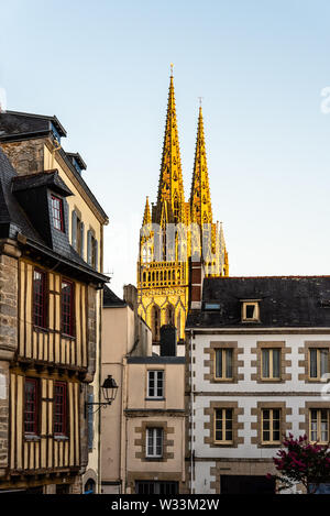 Cityscape of the old town of Quimper, the capital of the Finistere department of Brittany in northwestern France - Stock Image
