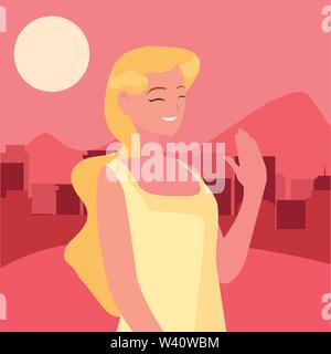 woman character portrait city urban background vector illustration - Stock Image