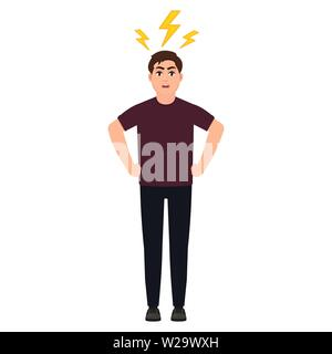 Man in anger, angry guy, lightning over a man's head, headache, cartoon character vector illustration - Stock Image