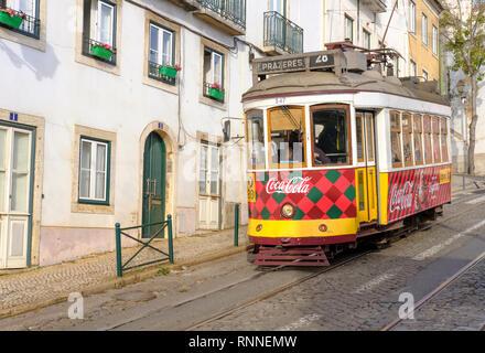 Lisbon traditional Tram 28. Largo Sao Martinho, Lisboa, Portugal. - Stock Image