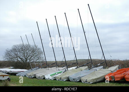 Boats stored for the winter in Cornwall. - Stock Image