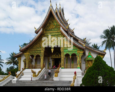 Haw Prabang house of Prabang Buddha statue,Luang Prabang Royal Palace and national museum is a set of temple  buildings in French colonial style - Stock Image