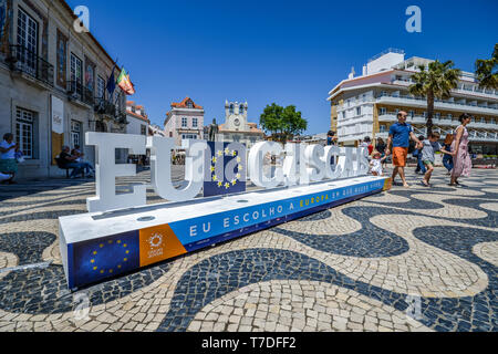 Cascais, Portugal - May 4th, 2019: Sign at main Town Square welcoming visitors to Cascais and reminding them of upcoming European Union elections - Stock Image