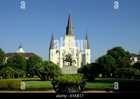 New Orleans LA Louisiana St Louis Cathedral city landmark tourist attraction - Stock Image