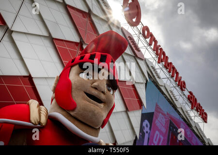 Gladiator - mascot of sports club 'Spartak' on the background of the football stadium 'Opening arena' in Moscow, Russia - Stock Image
