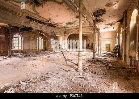 Interior view of an abandoned ballroom in Germany. - Stock Image